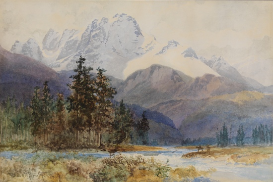A Snow-Clad Monarch of the Rockies (Mt. Hurd B.C.) by Frederic Marlett Bell-Smith