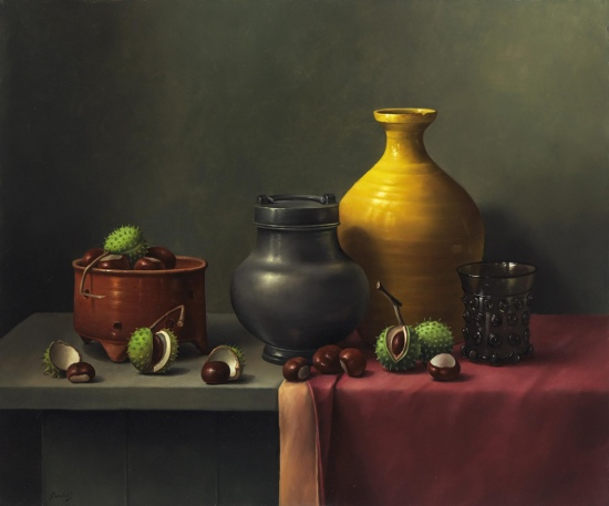 Chestnuts in Brown Pottery with Pewter Can by Nadine Lundahl