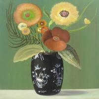 Green Still Life with Chinese Vase by Jane Smaldone