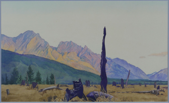 Burnt Timber in a Rocky Mountain Valley by Walter Joseph (W.J.) Phillips