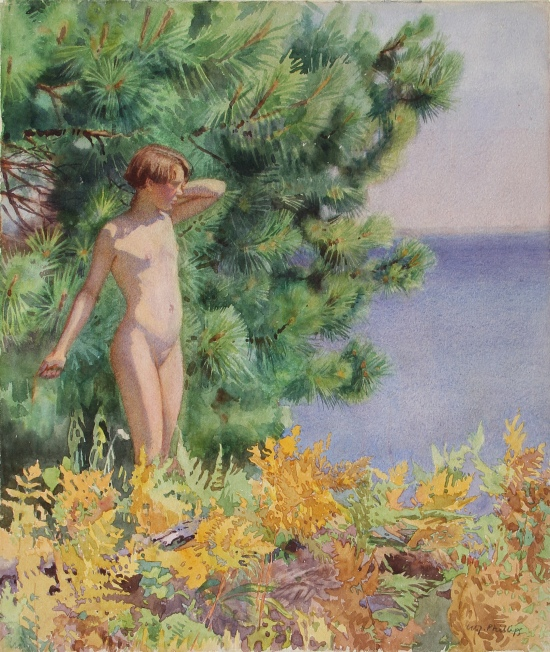 Untitled (Nude), (watercolour sketch for the woodcut Mary at Muskoka)  by Walter Joseph (W.J.) Phillips