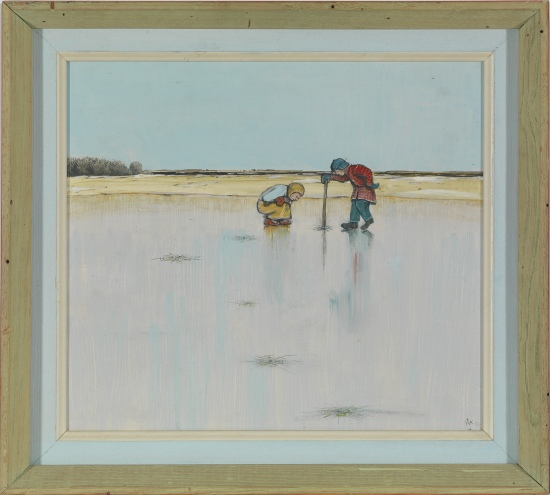 Children Studying the Prismatic Effects in the Ice Cracks by William (W.K.) Kurelek