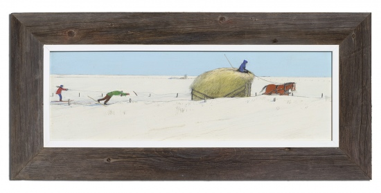 Skiing after Hayrack in Manitoba by William (W.K.) Kurelek