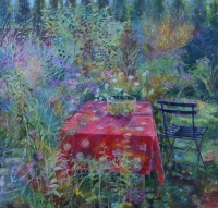 Red Table in Deborah's Garden by Carol Stewart