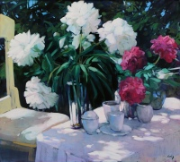 Red and White Peonies by Philip Craig