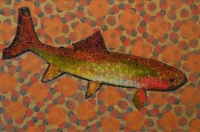 Trout Painting  #021-1885   by Les Thomas