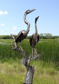 5 foot 'Spring, Great Blue Herons' by Peter Sawatzky