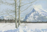 Mount Rundle,Winter by Walter Joseph (W.J.) Phillips
